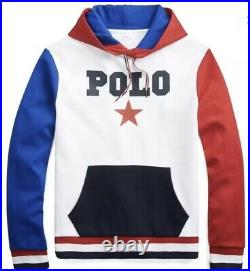 New Sz XL Polo Ralph Lauren Mens Cotton Graphic Hoodie 468832 Red White Blue