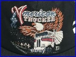New Vintage 80s American Trucker 2 Two Stripe Eagle USA Flag Trucker Hat Driver