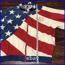New Vintage Starter USA Olympic Team Jacket Windbreaker All Over American Flag