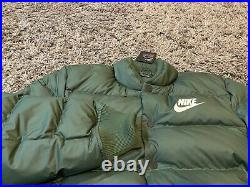Nike Green White swoosh retro down feather puffer jacket coat MSU Sparty rare M