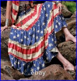 NwT RED WHITE L CREAM Blue FLAG maxi Skirt Tasha POLIZZI stars ralph lauren usa
