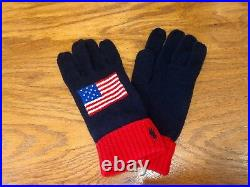 Nwt L/xl Polo Ralph Lauren USA Wool-blend American Flag Navy/red/white Gloves