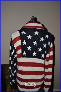 Nwt, Polo Ralph Lauren USA Flag Cotton/silk Blend Men's Cardigan Sweater- $115
