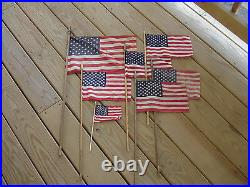 Old Vtg United States Of America USA American Flag LOT Decorative Top Wood