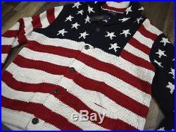 POLO RALPH LAUREN CARDIGAN SWEATER new nwt USA US FLAG linen bld mens L XL