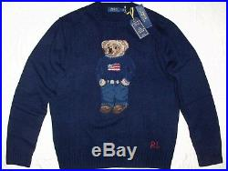POLO RALPH LAUREN Men's Classic Fit Wool USA Flag Bear Sweater, Knit, NAVY BLUE
