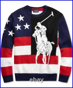 POLO RALPH LAUREN Men's Colorblock US Flag Large Pony Knit Cotton Sweater NWT