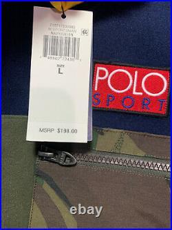 POLO RALPH LAUREN Men's Jacket Large Navy Green Sportsman Fleece Pullover