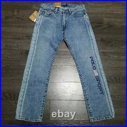 POLO RALPH LAUREN Sport Varick Slim Straight Blue Jeans Mens 30x30 Logo USA Flag