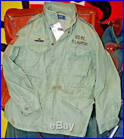 POLO RALPH LAUREN USA Field Jacket US RL Flag American Military Hooded Sz LG