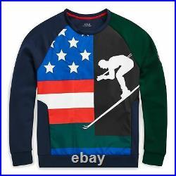 POLO Ralph Lauren Downhill Skier Ski 92 Sweatshirt USA Flag Sweater Holiday M