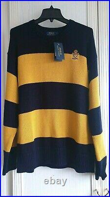 POLO Ralph Lauren Men's Cotton Sweater Navy Blue / Yellow Striped size L