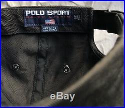 POLO SPORT RALPH LAUREN Vtg 1990s Black Blue Made In USA American Flag Hat