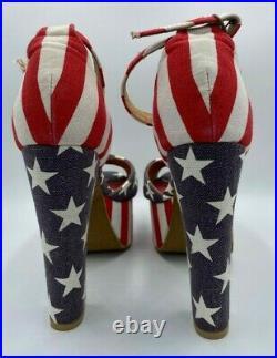 Pair Women's Jeffrey Campbell American Flag Havana Last Platform 5 Heels 8.5M
