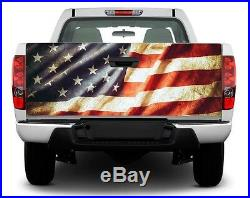 Patriotic American Flag USA Vintage Tailgate Decal Sticker Wrap Pickup Truck SUV