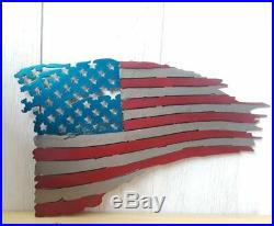 Patriotic Torn American Flag Sign Metal Art Plaque USA Veterans Independence Day