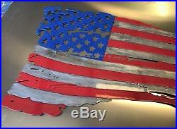 Patriotic torn American Flag Metal Wall Art 36 x 22 Made in USA