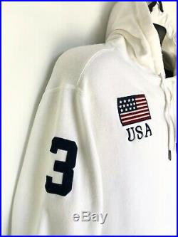 Polo By Ralph Lauren Vintage Big Logo USA American Flag White Hoodie Size L