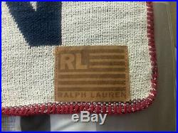 Polo Ralph Lauren American Flag 54 x 72 Throw Blanket Made in USA Vtg 90s Wrap