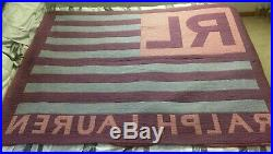 Polo Ralph Lauren American Flag 54 x 72 Throw Blanket Made in USA Vtg 90s Wrap