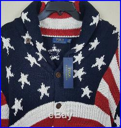 Polo Ralph Lauren American Flag Cardigan Sweater USA $295 Blue New (size Large)