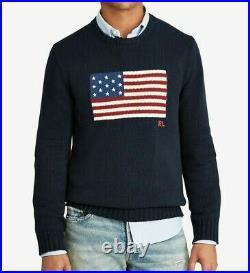 Polo Ralph Lauren American Flag USA Knit Sweater Pullover Bear Stadium Hi Tech