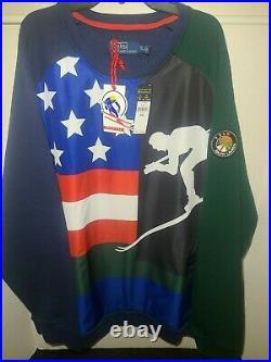 Polo Ralph Lauren Cookie Ski Downhill Skier 92 American Flag Sweater MSRP$298 L