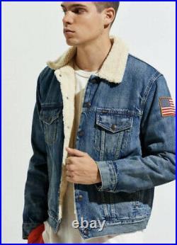 Polo Ralph Lauren Denim Sherpa Trucker Jacket Size XL Mens American Flag $248 XL