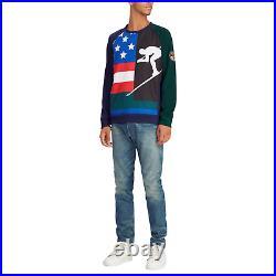 Polo Ralph Lauren Double Knit Downhill Skier 92 Cookie Patch Sweatshirt New $298