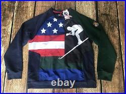 Polo Ralph Lauren Downhill Skier 92' USA Flag Sweatshirt Mens Small New