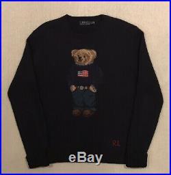 Polo Ralph Lauren Iconic Preppy USA Flag Teddy Bear Wool Sweater M Navy RARE
