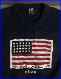 Polo Ralph Lauren Jeans Co American Flag Knit Sweater Navy Blue Mens Size Large