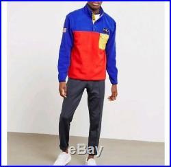 Polo Ralph Lauren Men Hi Tech CP 93 USA American Flag Fleece Sweatshirt Pullover