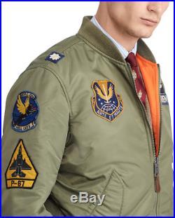 Polo Ralph Lauren Men Military Army MA-1 USA Flag Flight Bomber Pilot Jacket