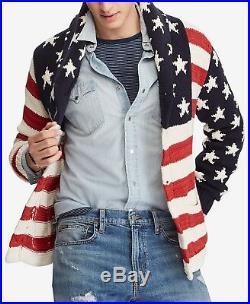 Polo Ralph Lauren Men Star & Stripe US American Flag Shawl Cardigan Sweater L