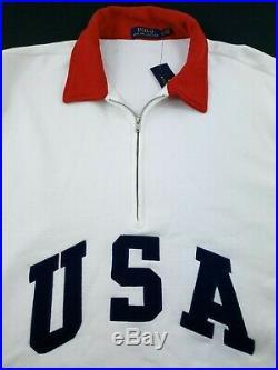 Polo Ralph Lauren Men Team USA Pullover Fleece Sweater American Flag Large TALL