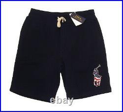 Polo Ralph Lauren Men's Aviator Navy USA Flag Pony Player Fleece Lined Shorts