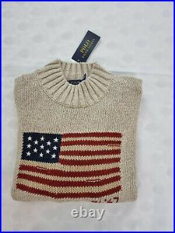 Polo Ralph Lauren Men's Beige Cotton Linen RL 67 USA American Big Flag