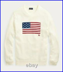 Polo Ralph Lauren Men's Iconic Flag Cotton Sweater (S. M. L. XL) Cream-Made in USA