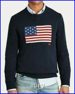 Polo Ralph Lauren Men's Iconic Flag Cotton Sweater (S. M. L. XL) Navy made in USA