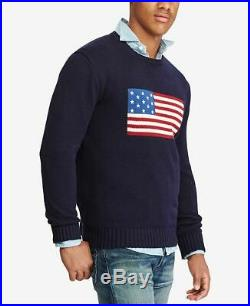 Polo Ralph Lauren Men's Large American Flag Cotton Sweater Navy Blue Made In USA