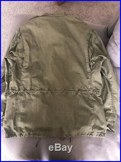 Polo Ralph Lauren Men's Size LX American Flag Army Military Jacket, Green USA