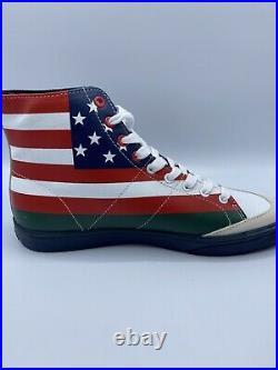 Polo Ralph Lauren Men's Solomon USA American Flag High Top Shoes Size 10.5 NEW