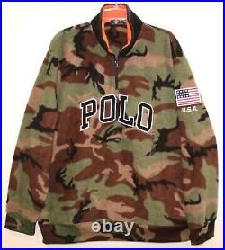 Polo Ralph Lauren Mens Camouflage 1/2 Zip POLO Fleece Jacket NWT $148 Size L