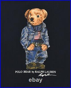 Polo Ralph Lauren Navy American Flag Denim Bear Fleece Pullover Hoodie New