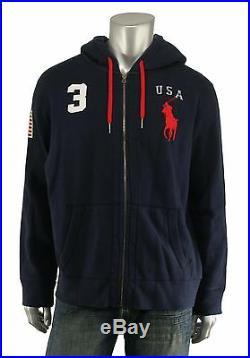Polo Ralph Lauren Navy Big Pony USA Flag Hoodie Jacket New