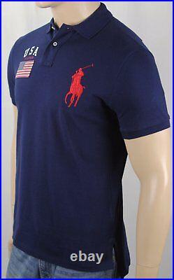 Polo Ralph Lauren Navy Blue Custom Flag Big Red Pony Short Sleeve Shirt NWT