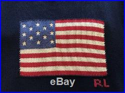Polo Ralph Lauren Pullover American Flag Sweater USA Navy Blue Red Large NWT