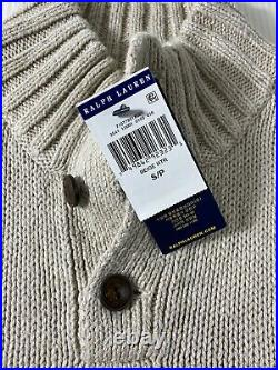 Polo Ralph Lauren RL-67 USA American Flag Mock Neck Knit Sweater Beige Mens S