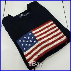 Polo Ralph Lauren RL American Flag Sweater Blue Mens XL Slim USA Made
